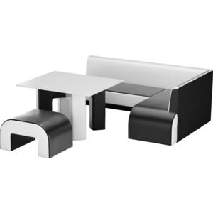 Кухонный уголок Мебелико Кармен эко-кожа черно-белый правый