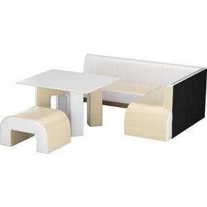 Кухонный уголок Мебелико Кармен эко-кожа бежевый-белый правый