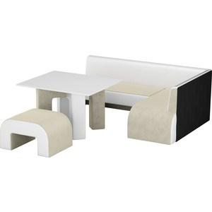Кухонный уголок Мебелико Кармен микровельвет бежевый-белый правый