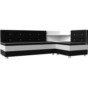 Кухонный диван Мебелико Милан эко-кожа черно-белый правый