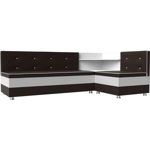 Кухонный диван Мебелико Милан эко-кожа коричнево-белый правый
