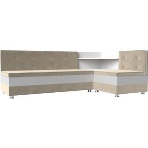 Кухонный диван АртМебель Милан микровельвет бежевый-белый правый