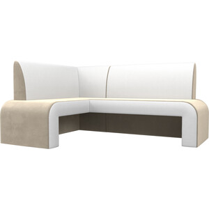 Кухонный диван АртМебель Кармен микровельвет бежевый/белый левый lbellagiovanna redfushia белый бежевый xs