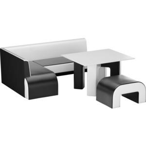 Кухонный уголок Мебелико Кармен эко-кожа черно-белый левый