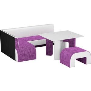Кухонный уголок АртМебель Кармен микровельвет фиолетовый-белый левый