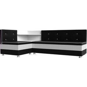 Кухонный диван Мебелико Милан эко-кожа черно-белый левый