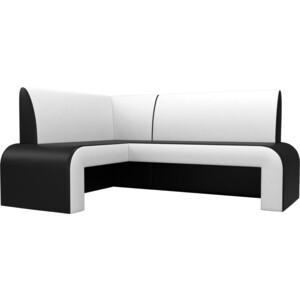 Кухонный диван Мебелико Кармен эко-кожа черно/белый левый