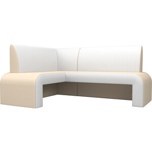 Кухонный диван Мебелико Кармен эко-кожа бежевый/белый левый