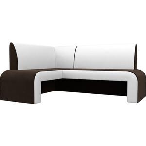 Кухонный диван АртМебель Кармен микровельвет коричнево/белый левый
