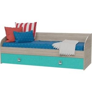 Кровать односпальная с двумя ящиками Гранд Кволити 4-2001 дуб сонома/аква цена и фото