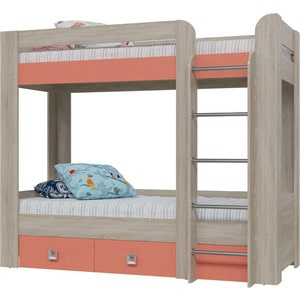 Кровать 2-х ярусная с двумя ящиками Гранд Кволити Сити 4-2002 дуб сонома/коралл