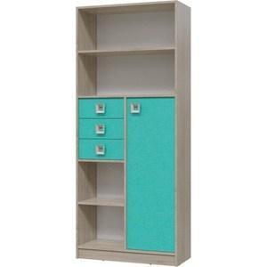 Шкаф стеллаж с дверкой и ящиками Гранд Кволити Сити 6-9414 дуб сонома/аква