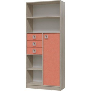 Шкаф стеллаж с дверкой и ящиками Гранд Кволити Сити 6-9414 дуб сонома/коралл
