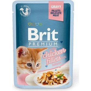 Паучи Brit Premium GRAVY with Chicken Fillets for Kitten кусочки в соусе с куриным филе для котят 85г (518579) cute faux opal inlaid kitten shape ring for women