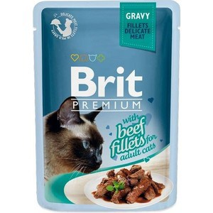 Паучи Brit Premium GRAVY with Beef Fillets for Adult Cats кусочки в соусе с говяжим филе для взрослых кошек 85г (518555) a set of wet food friskies for cats with turkey in gravy pouch 85 gx 24 pcs