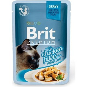 Паучи Brit Premium GRAVY with Chicken Fillets for Adult Cats кусочки в соусе с куриным филе для взрослых кошек 85г (518524) a set of wet food friskies for cats with turkey in gravy pouch 85 gx 24 pcs