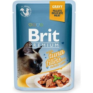 Паучи Brit Premium GRAVY with Tuna Fillets for Adult Cats кусочки в соусе с филе тунца для взрослых кошек 85г (518548) a set of wet food friskies for cats with turkey in gravy pouch 85 gx 24 pcs