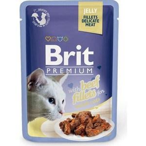 Паучи Brit Premium JELLY with Beef Fillets for Adult Cats кусочки в желе с говяжим филе для взрослых кошек 85г (518470)