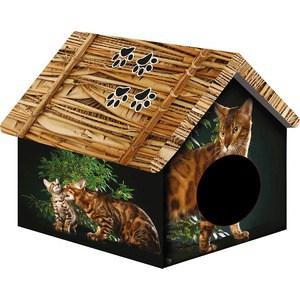 Купить Домик PerseiLine Дизайн Бенгальский кот для кошек 33*33*40 см (31130/ДМД-1)