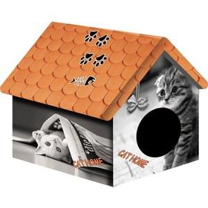 Домик PerseiLine Дизайн Кошка с газетой для кошек 33*33*40 см (00100/ДМД-1) цена