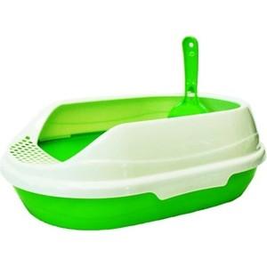 Туалет HomeCat малый овальный зеленый в комплекте с совком для кошек 43х31х16 см