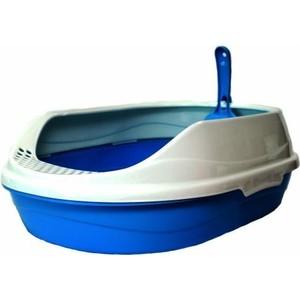 Туалет HomeCat средний овальный голубой в комплекте с совком для кошек 52х38х17 см