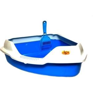Туалет HomeCat угловой с бортиком голубой в комплекте с совком для кошек 56х42х18 см