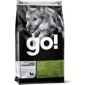 Сухой корм GO! NATURAL Holistic Dog Sensitivity+ Shine Grain+Gluten Free Turkey Recipe беззерновой с индейкой для щенков и собак 2,72кг (13845)
