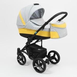 Коляска 2 в 1 Mr Sandman West-East Premium 50% Эко кожа Жёлтый Перфорированный - Светло-Серый KMSWEP50-0735CH08 цена