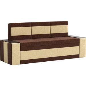 Кухонный диван АртМебель Лина Микровельвет (коричнево/бежевый)