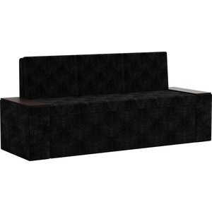 Кухонный диван АртМебель Лина Микровельвет (черный)