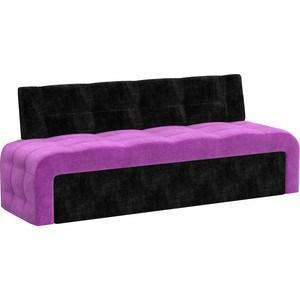 Кухонный диван Мебелико Люксор микровельвет (фиолетово/черный) прямой кухонный раскладной диван для маленькой кухни мебелико кухонный диван люксор микровельвет