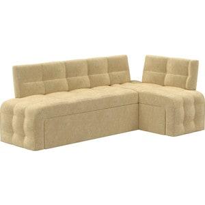 Кухонный угловой диван Мебелико Люксор микровельвет бежевый угол правый прямой кухонный раскладной диван для маленькой кухни мебелико кухонный диван люксор микровельвет