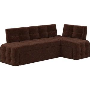 Кухонный угловой диван Мебелико Люксор микровельвет (коричневый) угол правый прямой кухонный раскладной диван для маленькой кухни мебелико кухонный диван люксор микровельвет