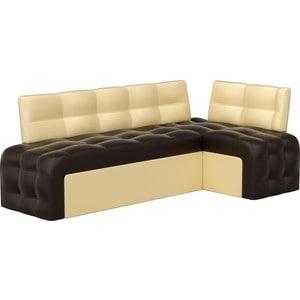 Кухонный угловой диван Мебелико Люксор эко-кожа (коричнево/бежевый) угол правый кухонный угловой диван мебелико деметра эко кожа бежевый правый угол
