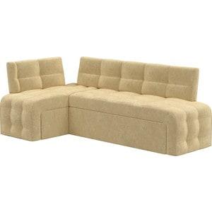 Кухонный угловой диван Мебелико Люксор микровельвет бежевый угол левый прямой кухонный раскладной диван для маленькой кухни мебелико кухонный диван люксор микровельвет