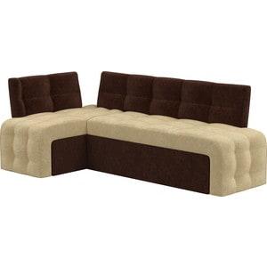 Кухонный угловой диван АртМебель Люксор микровельвет (бежево/коричневый) угол левый цена