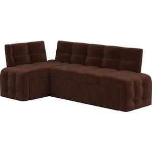 Кухонный угловой диван Мебелико Люксор микровельвет (коричневый) угол левый прямой кухонный раскладной диван для маленькой кухни мебелико кухонный диван люксор микровельвет