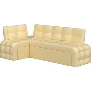 Кухонный угловой диван Мебелико Люксор эко-кожа (бежевый) угол левый угловой диван мебелико камелот эко кожа белый левый угол