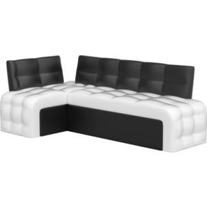 Кухонный угловой диван Мебелико Люксор эко-кожа (бело/черный) угол левый диван мебелико тахта эко кожа бело черный левый