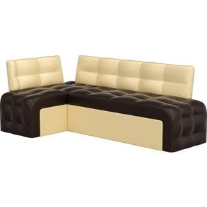 Кухонный угловой диван Мебелико Люксор эко-кожа (коричнево/бежевый) угол левый угловой диван мебелико камелот эко кожа белый левый угол