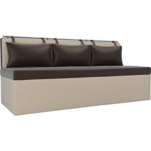 Кухонный диван Мебелико Метро эко-кожа коричнево-бежевый