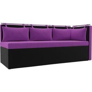 Кухонный угловой диван Мебелико Метро микровельвет фиолетово-черный угол правый кухонный угловой диван мебелико кристина микровельвет фиолетово черный правый