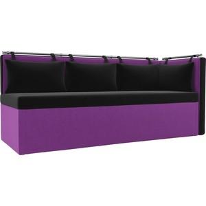 Кухонный угловой диван АртМебель Метро микровельвет черно-фиолетовый угол правый