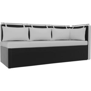 Кухонный угловой диван Мебелико Метро эко-кожа белый-черный угол правый