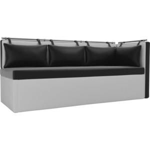 Кухонный угловой диван Мебелико Метро эко-кожа черно-белый угол правый