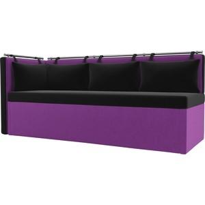 Кухонный угловой диван АртМебель Метро микровельвет черно-фиолетовый угол левый
