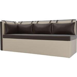 Кухонный угловой диван АртМебель Метро эко-кожа коричнево-бежевый угол левый