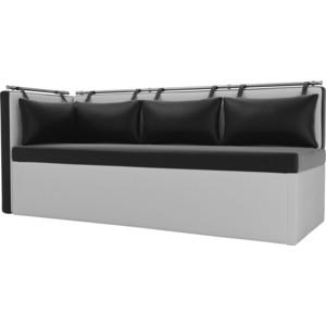 Кухонный угловой диван Мебелико Метро эко-кожа черно-белый угол левый