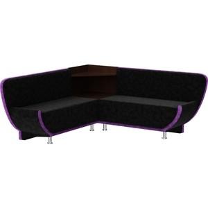 Кухонный диван Мебелико Лотос микровельвет черно-фиолетовый угол правый